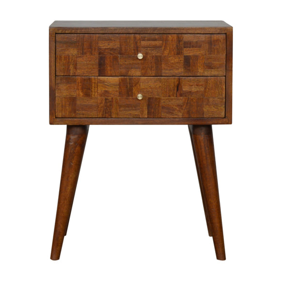 Milan Solid Wood Bedside Table - Chestnut