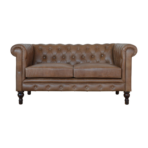 Royal Chesterfield 2 Seater Velvet Sofa - Brown Leather