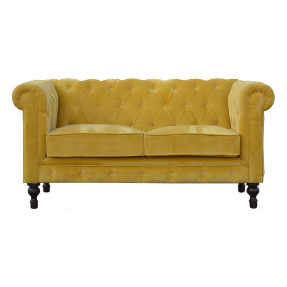 Royal Chesterfield 2 Seater Velvet Sofa - Mustard