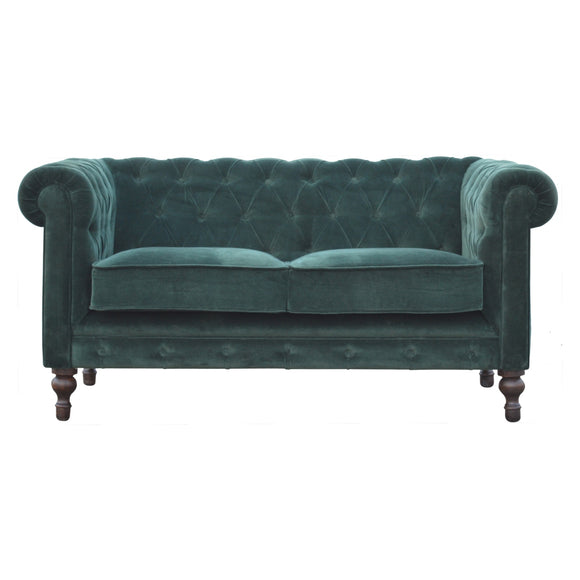 Royal Chesterfield 2 Seater Velvet Sofa - Emerald Green