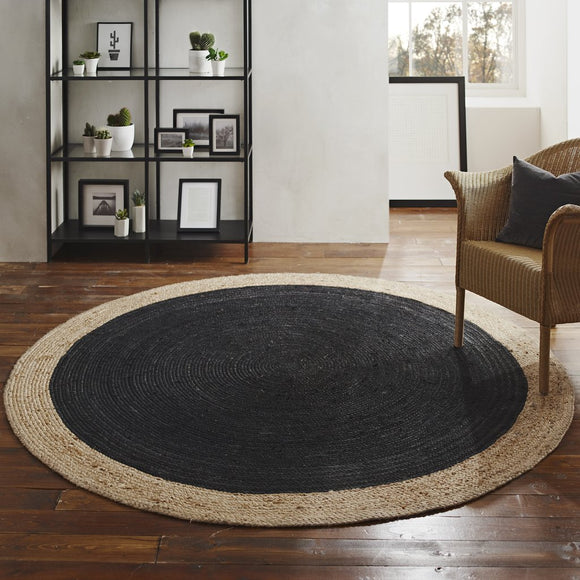 Harvey Collection Soft Round Jute Rug - Charcoal