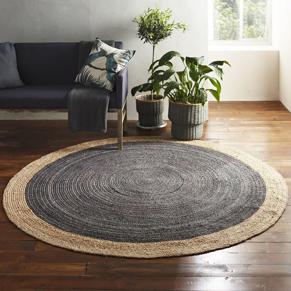 Harvey Collection Soft Round Jute Rug - Light Grey