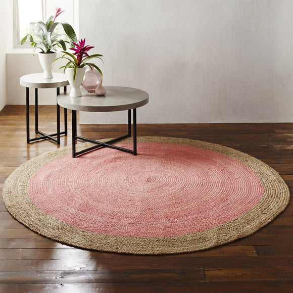 Harvey Collection Soft Round Jute Rug - Pink