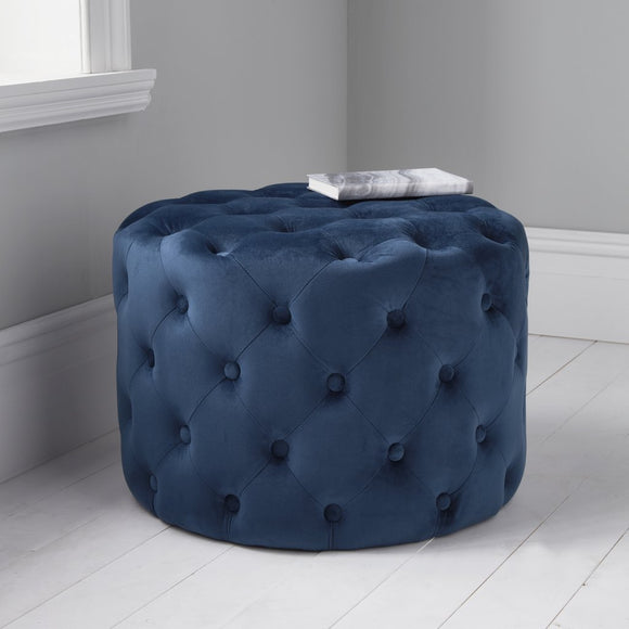 Harvey Collection Tufted Velvet Pouffe - Mystique Blue