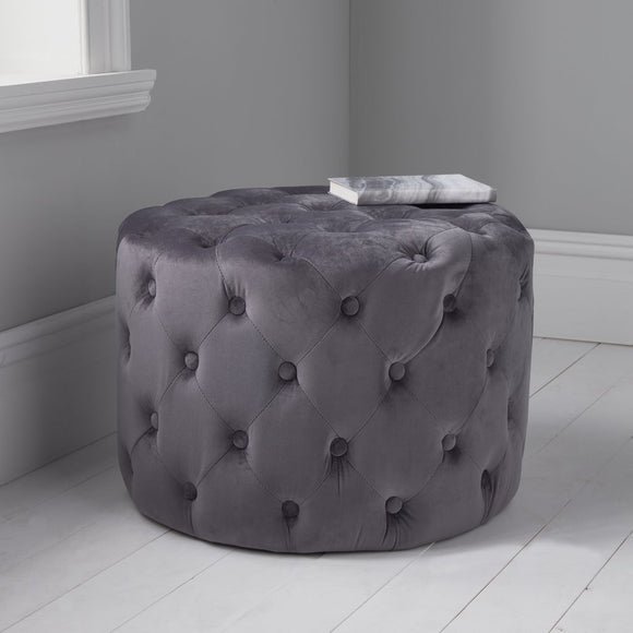 Midnight Grey Tufted Velvet Pouffe