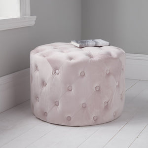 Harvey Collection Tufted Velvet Pouffe - Pastel Pink