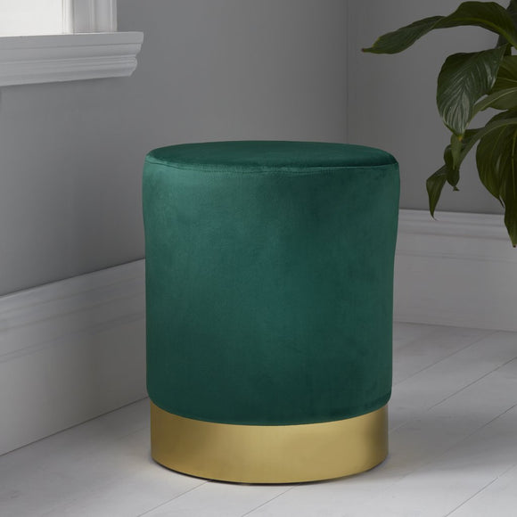 NH Round Deep Green Velvet Stool - Gold Finish