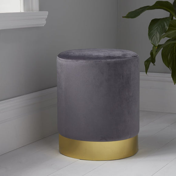 NH Round Grey Velvet Stool - Gold Finish
