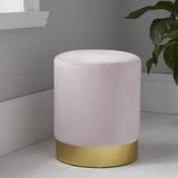 NH Round Pastel Pink Velvet Stool - Gold Finish
