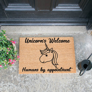 Unicorns Welcome, Humans By Appointment Doormat