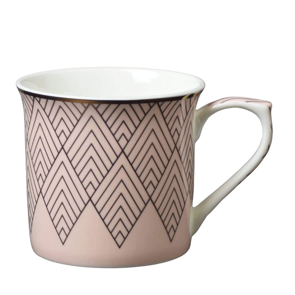 Fine Bone China Mug with Diamond Detail Pink and Gold