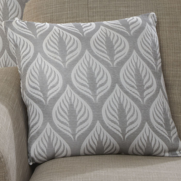Harvey Collection Leaf Design Cushion - Silver
