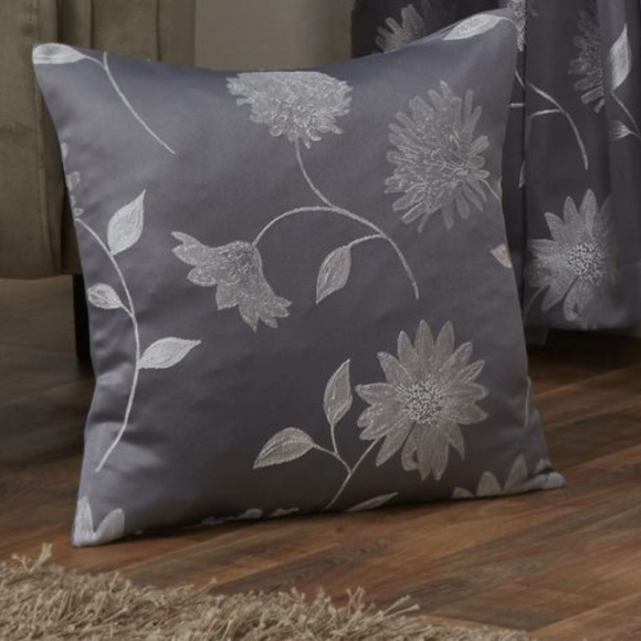 Wiltshire Collection Floral Jacquard Cushion - Silver