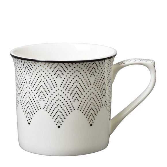 Fine Bone China Mug with Fan Dot Detail Black and Gold