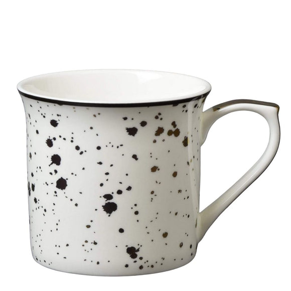 Fine Bone China Mug with Speckles Black and Gold