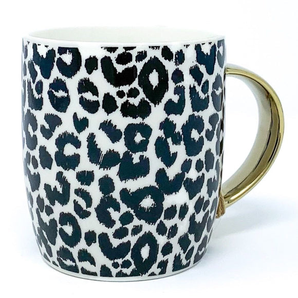 Animal Luxe Barrel Mug with Leopard Print - Black