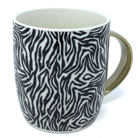 Animal Luxe Barrel Mug with Zebra Print - Black
