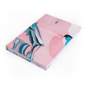Marble Lined Notebook - Light Pink and White