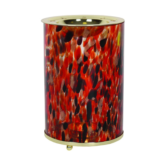 Aroma Wax Melt Burner - Red & Gold Art Glass