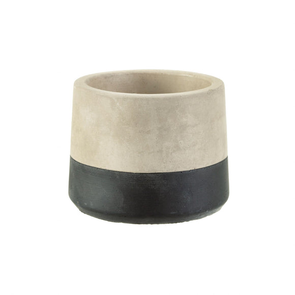 Black Cement Dip Tealight or Plant Holder - 8cm