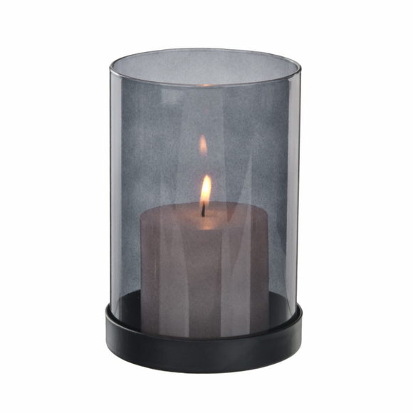 NH Black Tinted Glass Candle Holder
