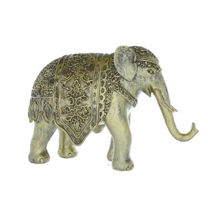 Medium Elephant Ornament with Moroccan Rug Antique Gold 26cm
