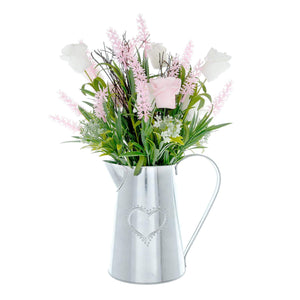 Silver Metal Jug with Pink Roses and Lavender