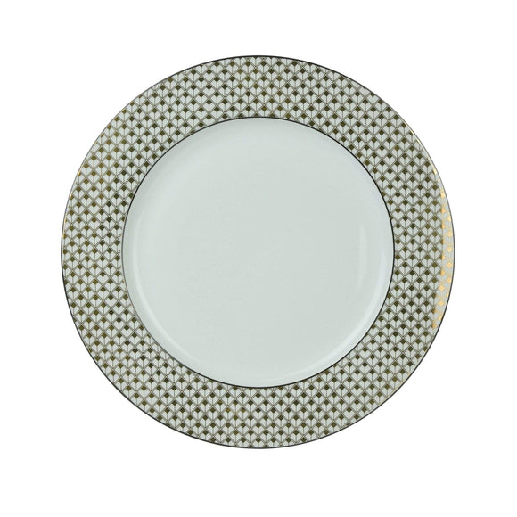 Deco Glam Dinner Plate with Square Detail - Black and Gold