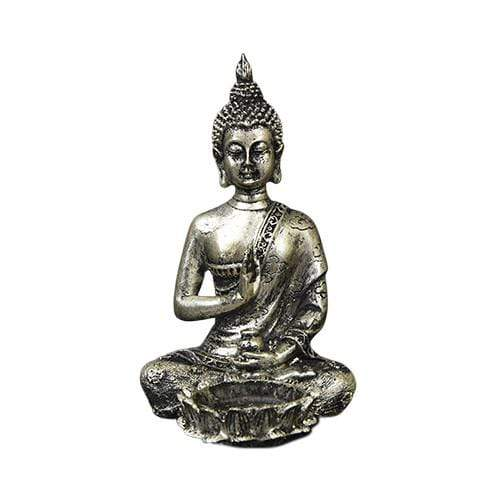 Buddha Tealight Candle Holder - Silver Effect 13.5cm