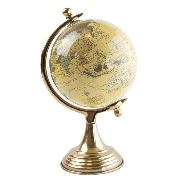 Christines Homeware Globe on Metal Stand - Cream and Gold