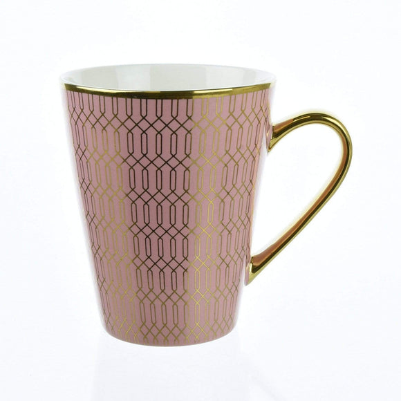 Deco Glam Conical Mug with Geometric Design - Pink and Gold