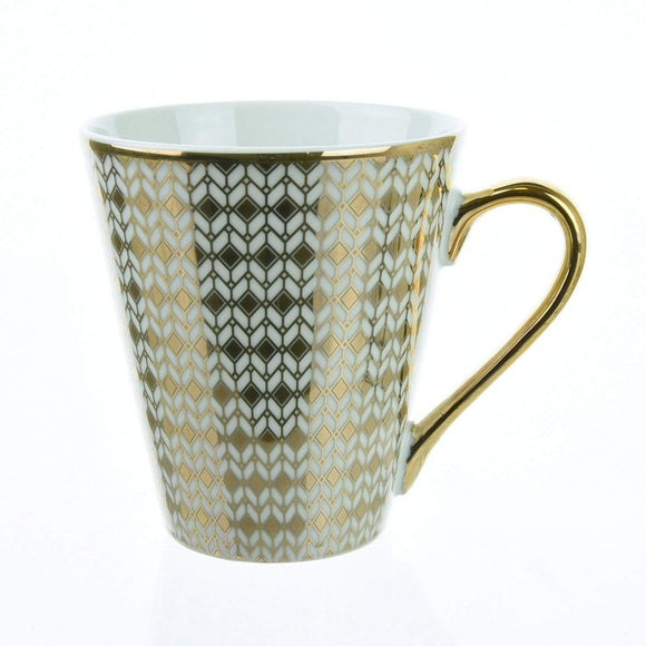 Deco Glam Conical Mug with Geometric Design - White and Gold