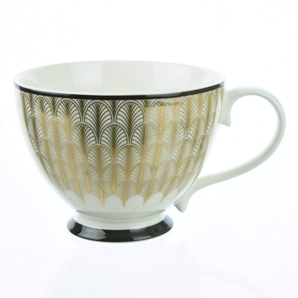 Deco Glam Footed Mug with Feather Print - Black and Gold