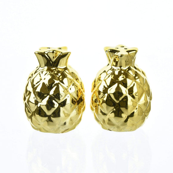 Deco Glam Pineapple Shaped Salt & Pepper Shaker - Gold
