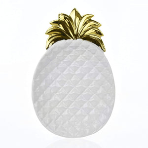Pineapple Dish White and Gold - Large 33cm