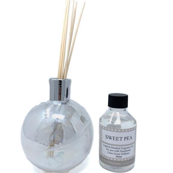 Christine's Handmade Mouth-Blown Glass Reed Diffuser - Sweet Pea