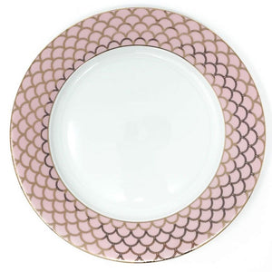 Deco Glam Dinner Plate with Scallop Detail - Pink and Gold