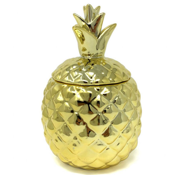 Deco Glam Pineapple Shaped Storage Jar - Gold
