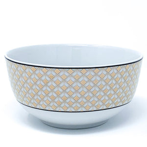 Deco Glam Rice Bowl with Square Detail - Black and Gold