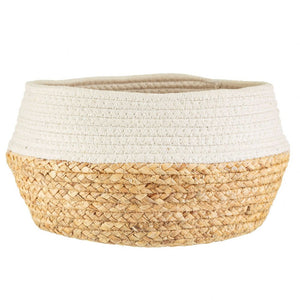 Dipped Rope & Grass Basket - White