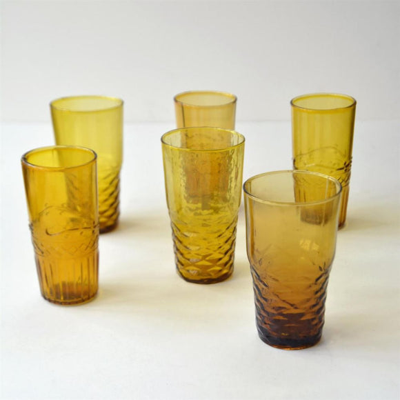 Freya Handmade Glasses - Amber 6 Pack