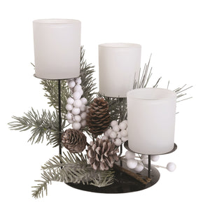 Frosted Floral Triple Pillar Candle Holder - White