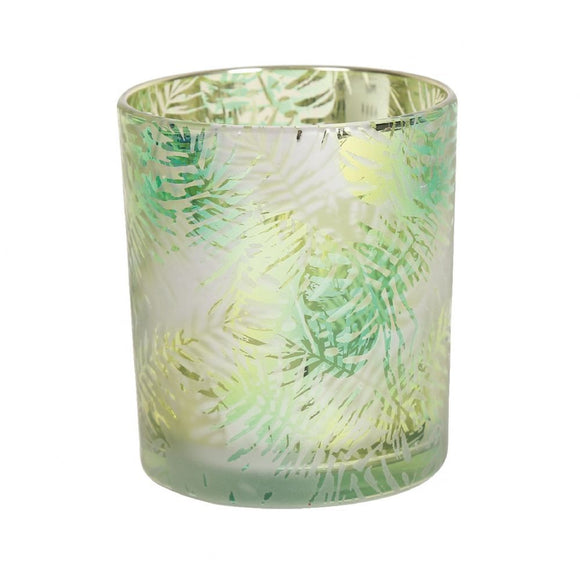 Green Tropics Glass Tealight Candle Holder - 10cm