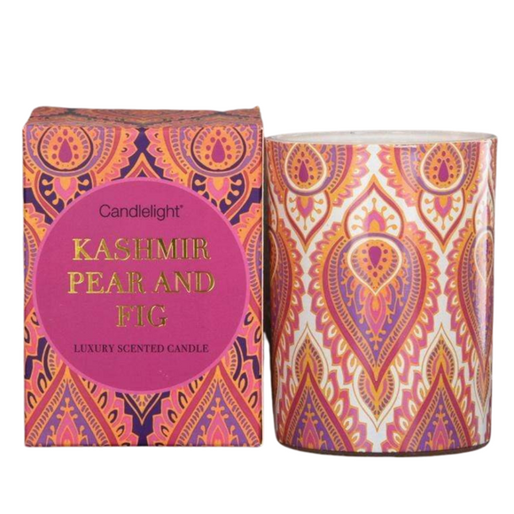 India Wax Filled Pot Candle in Gift Box - Kashmir and Fig Scent 220g