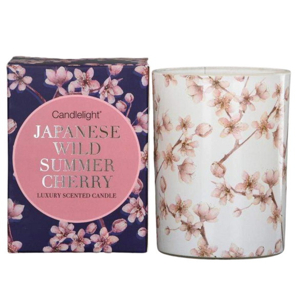 Japan Wax Filled Pot Candle in Gift Box - Wild Summer Cherry Scent 220g