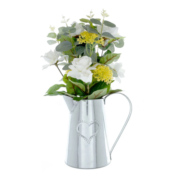 Silver Metal Jug with Camelia and Eucalyptus - Yellow