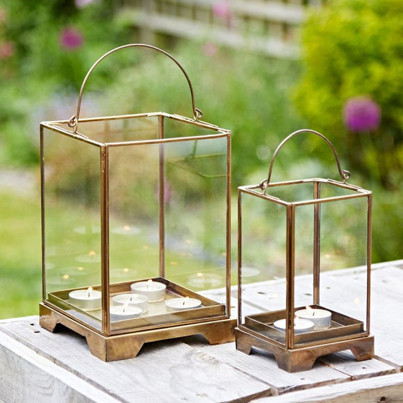 Christines Antique Effect Brass Handmade Candle Lantern - Large