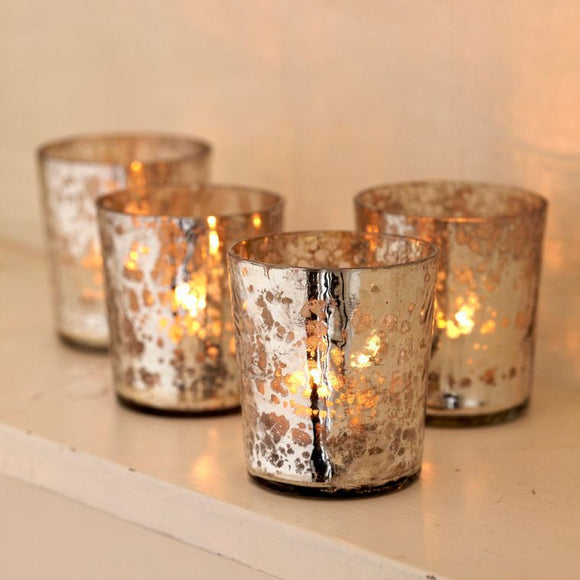 Christines Set of Four Recycled Glass Tea Light Holder - Metallic