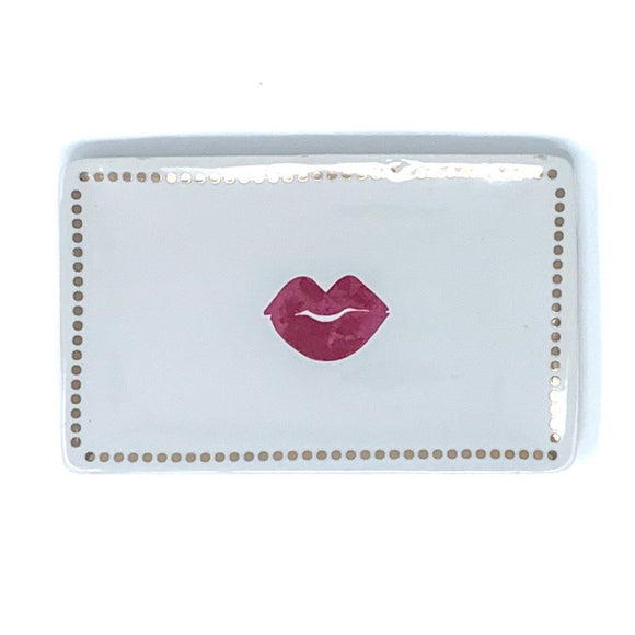 Lips Soap Dish with Gold Dots - White