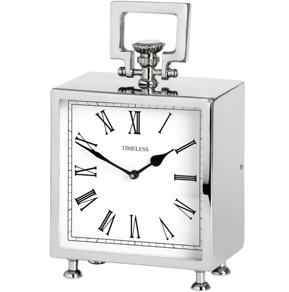 Square Nickel Table Clock - Silver